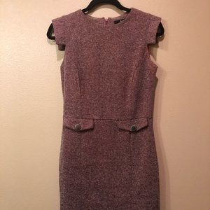 MNG red tweed dress with button detail, S